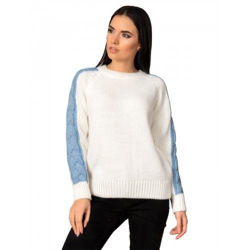 Свитер30481(цвет Белый-Голубой)