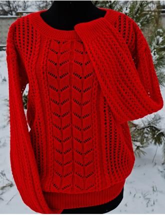 Свитер №50557 Цвет Ярко Красный